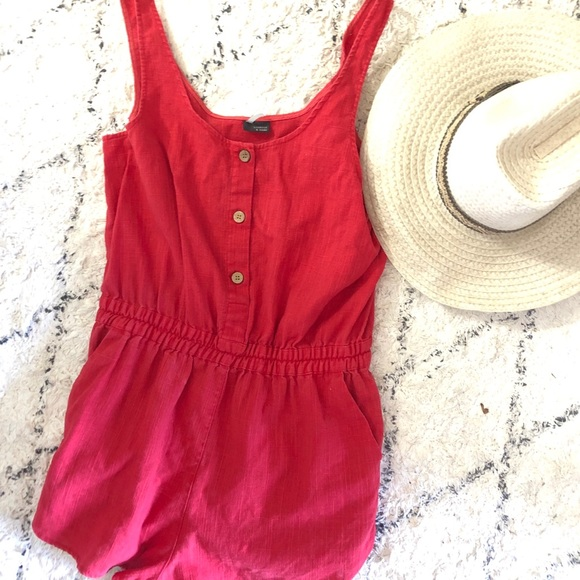 Urban Outfitters Pants - RARE Sparkle and Fade linen red romper
